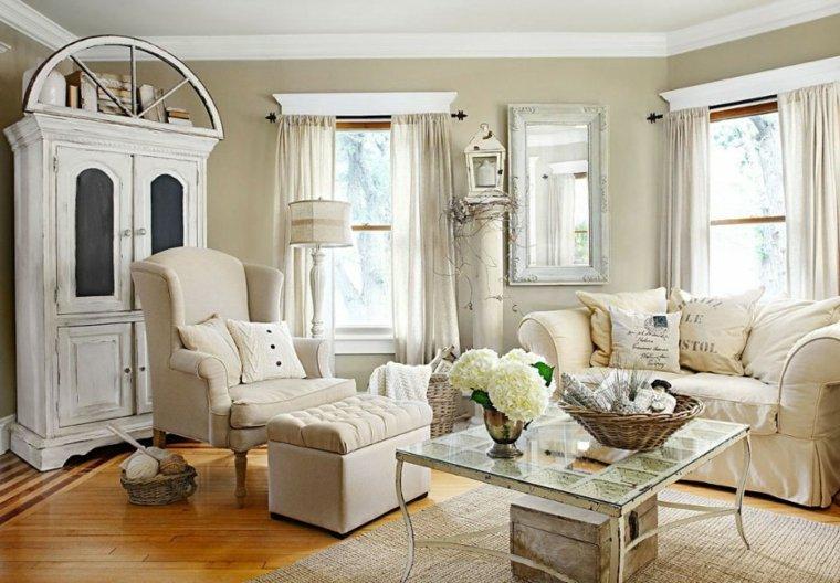 mueble madera pintura desgastada vintage salon ideas