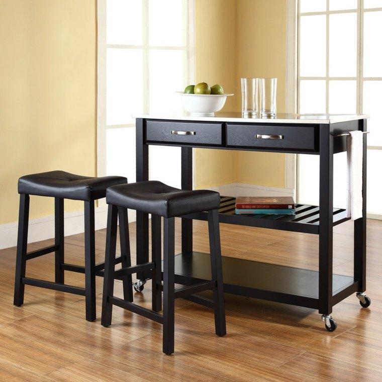muebles auxiliares de cocina color negro elegante ideas