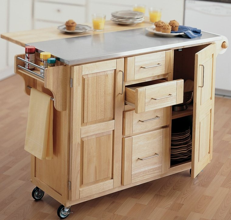 Muebles auxiliares de cocina 24 dise os interesantes for Mueble auxiliar con ruedas