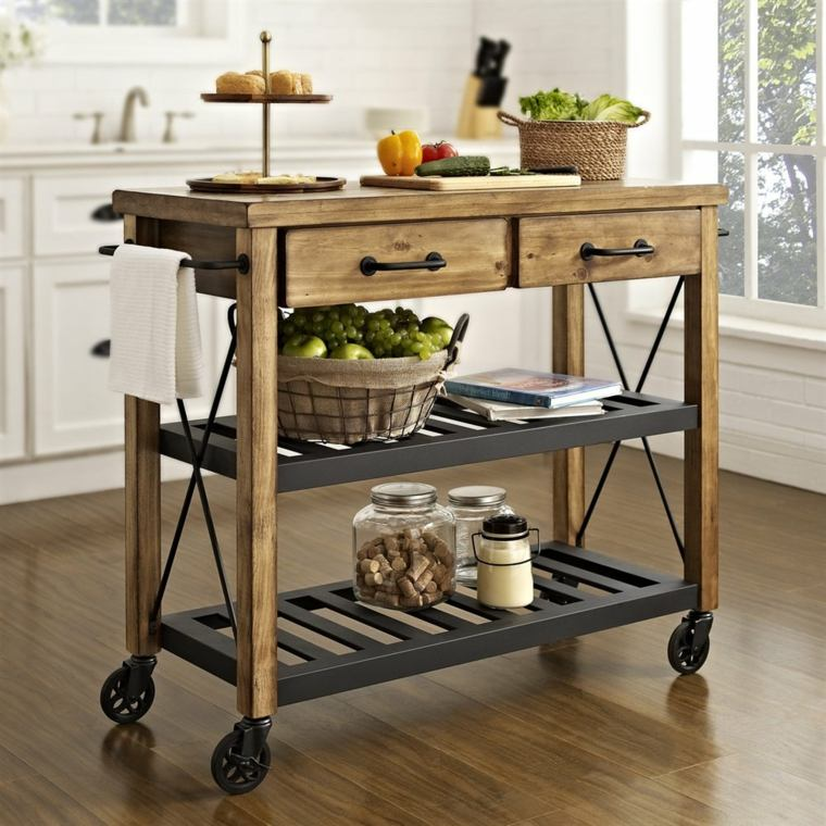 Muebles auxiliares de cocina 24 dise os interesantes - Diseno de muebles de madera ...