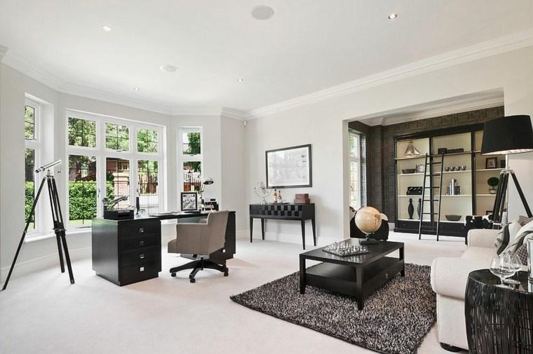 oficina muebles oscuros fondo blanco