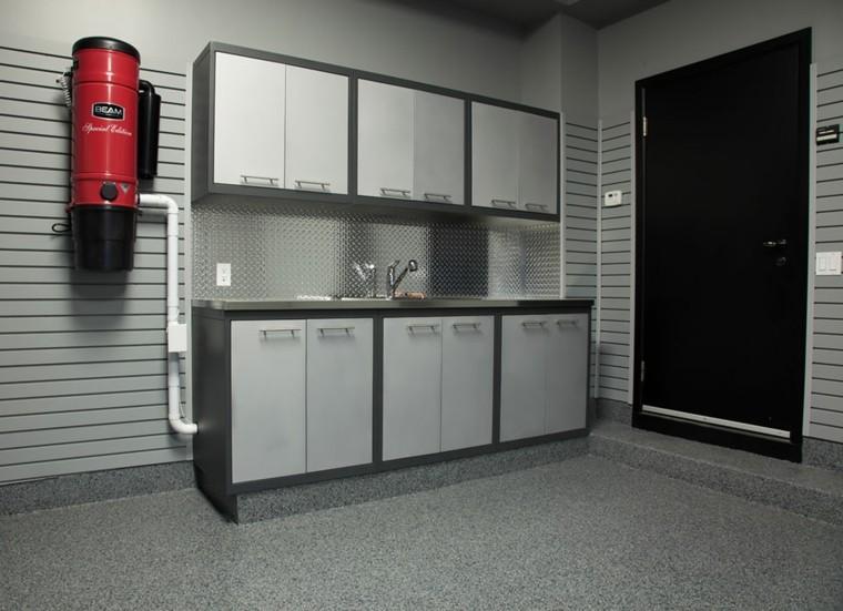 organizacion garaje consejos espacio armarios gris negro ideas