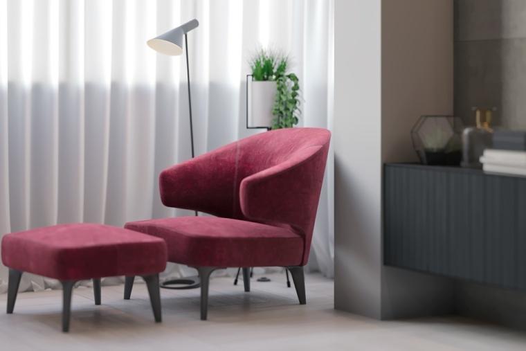 original diseño taburete sillon rojo