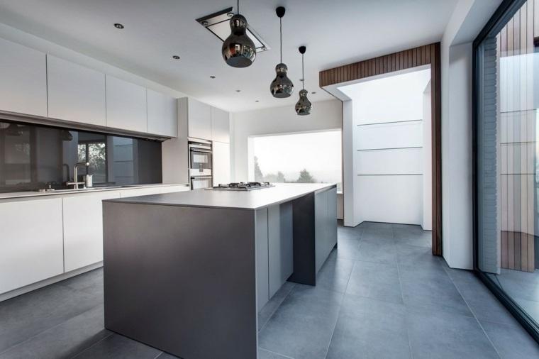 original diseño cocina isla gris