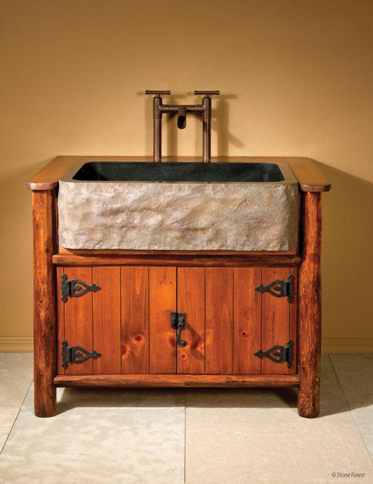 original lavabo estilo rustico Stone Forest