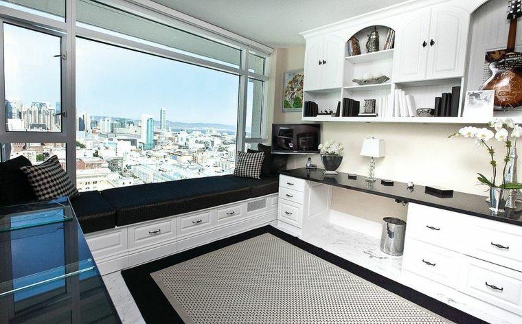 Dise o interiores de despachos blancos amplios e iluminados - Muebles despacho casa ...
