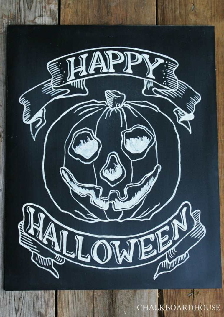 original dibujo calabaza pizarra halloween