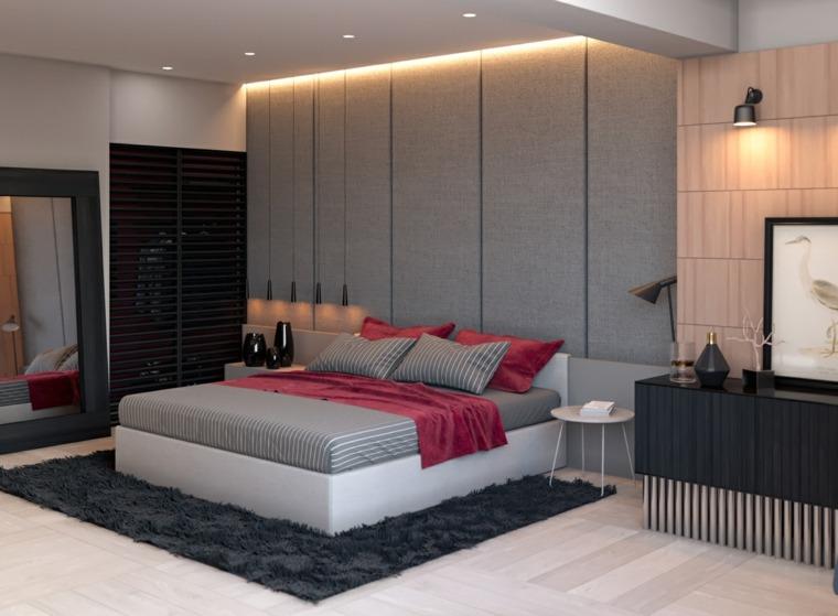 original diseno dormitorio paredes acolchadas grises