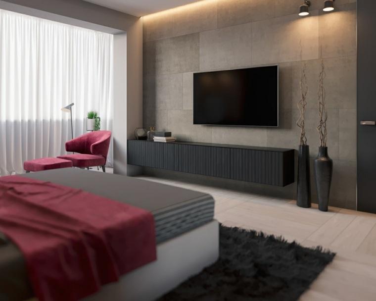 original diseño habitación paredes grises
