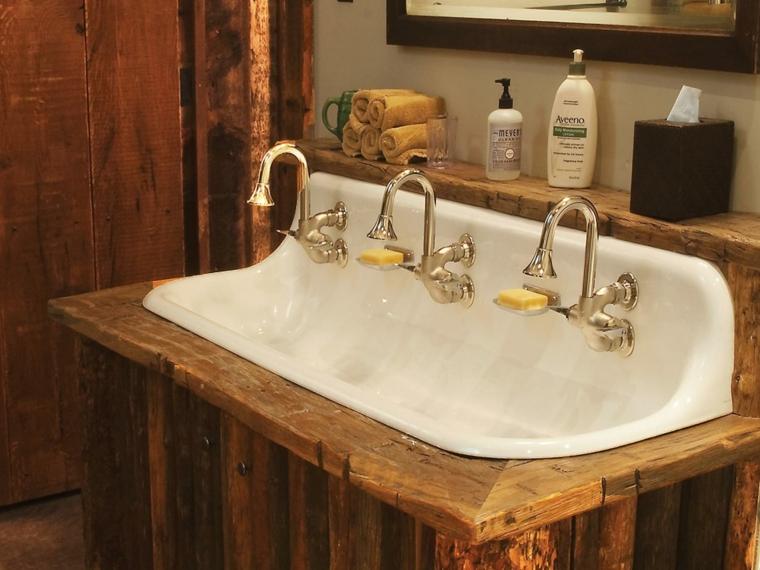 original diseño labvabo madera rustico