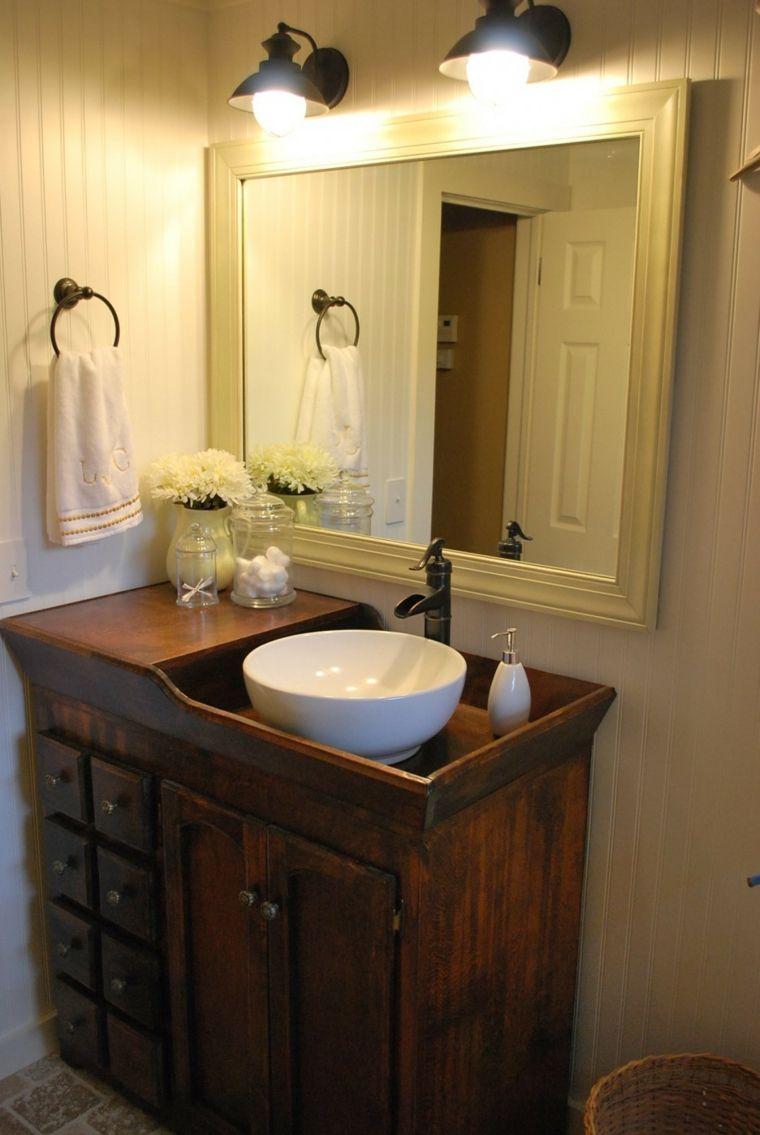 original lavabo rústico madera