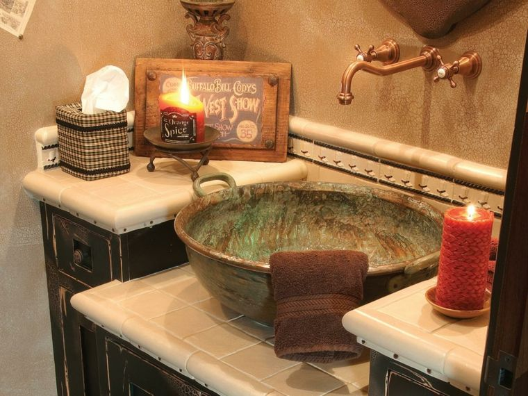 originales lavabos rusticos metal patina verde