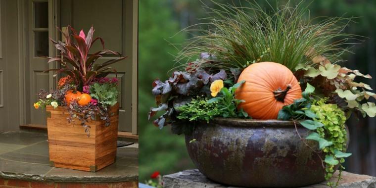 originales plantadores con elementos de otoño