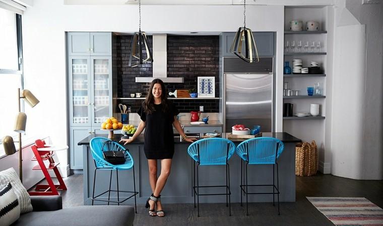 originales sillas cocina azules