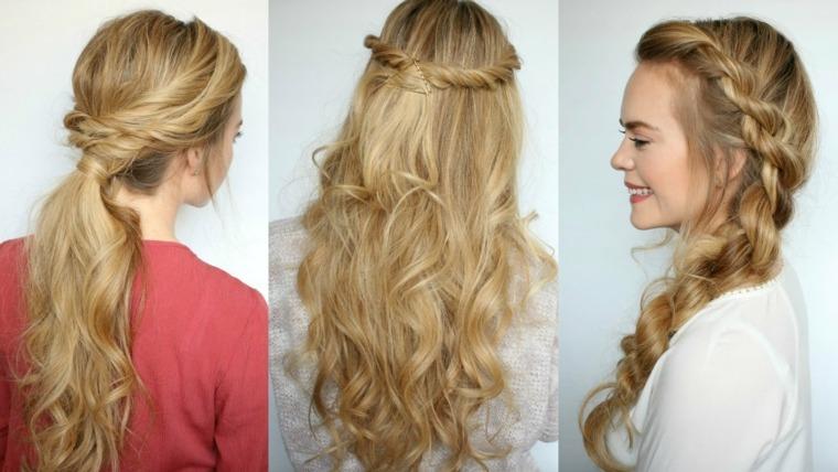 peinados elegantes pelo suelto mujeres