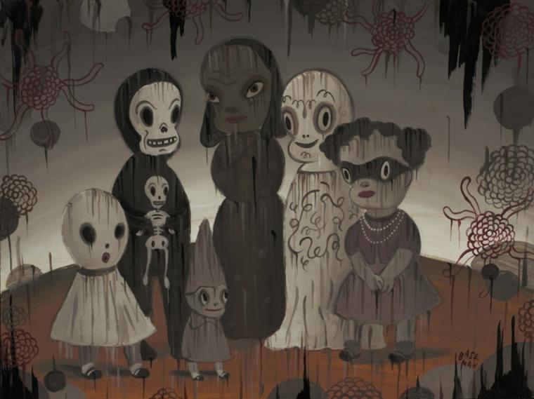 personajes cuadro hallowen terorífico