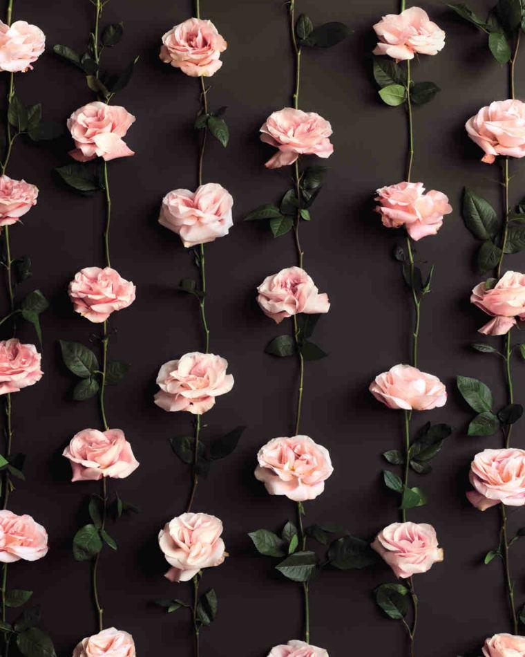 photocall para bodas diseno mantel rosas ideas