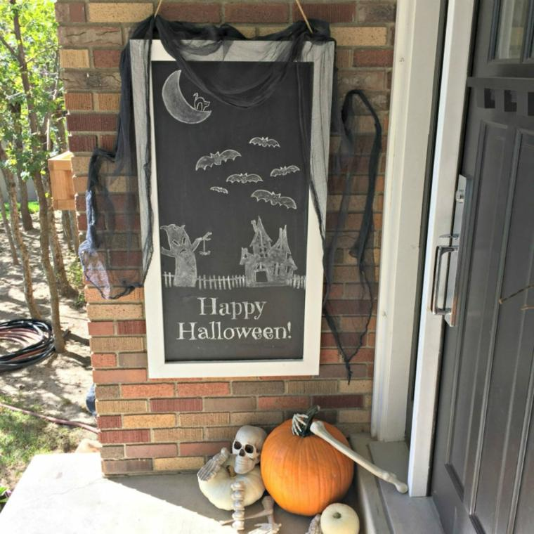 pizarra halloween puerta entrada