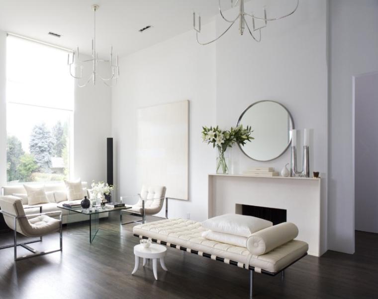 salón minimalista muebles blancos