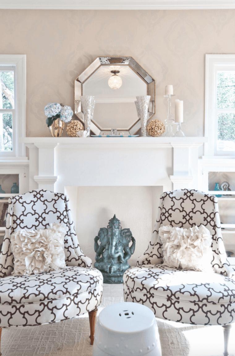 salon estilo nordico decoracion chimenea