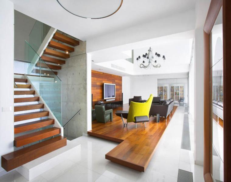 salon moderno plataforma madera