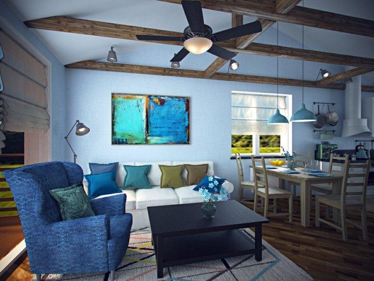 salones con estilo romantico shabby chic azul ideas