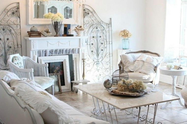 salones con estilo romantico shabby chic chimenea blanco ideas