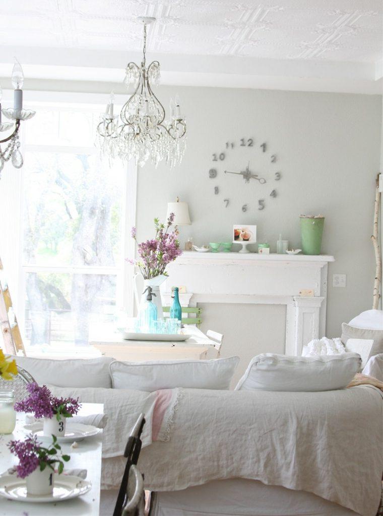 salones con estilo romantico shabby chic colores claros ideas