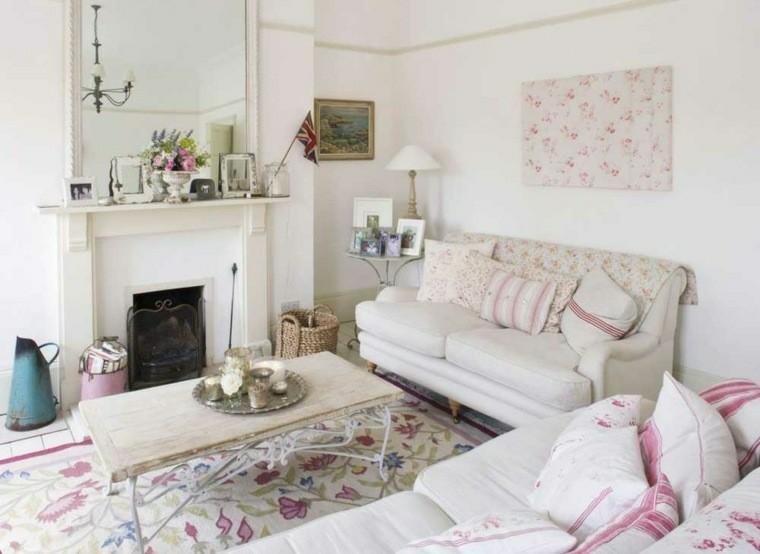 salones con estilo romantico shabby chic diseno floral ideas