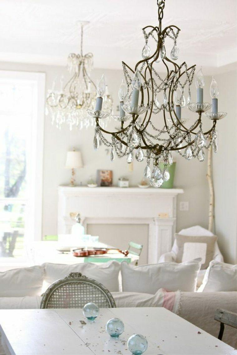 salones con estilo romantico shabby chic lamparas decoracion ideas