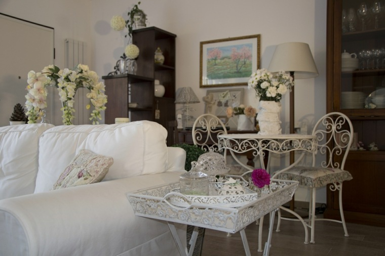 salones estilo romantico shabby chic muebles acero ideas