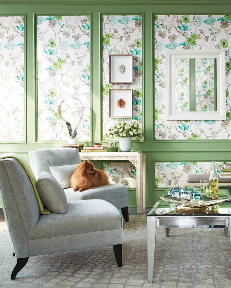 salones con estilo romantico shabby chic papel pared flores ideas