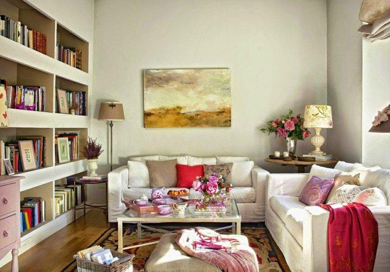 salones con estilo romantico shabby chic pequeno flores ideas