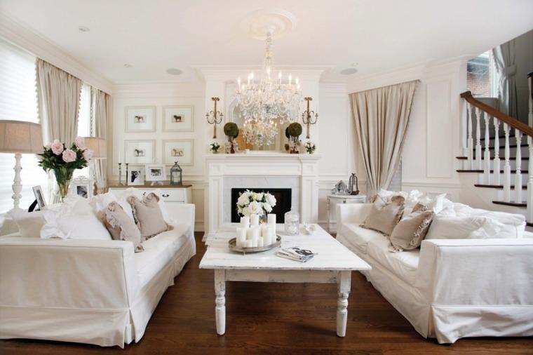 salones con estilo romantico shabby chic sofas blancas ideas