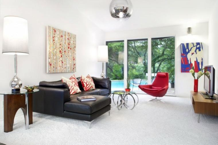 salones vintage paredes blancas sillon rojo ideas