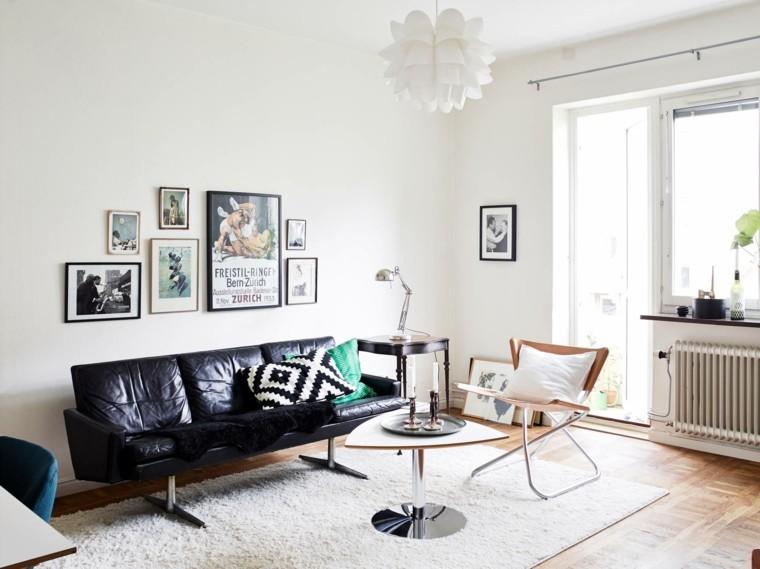 salones vintage sofa cuero negro ideas