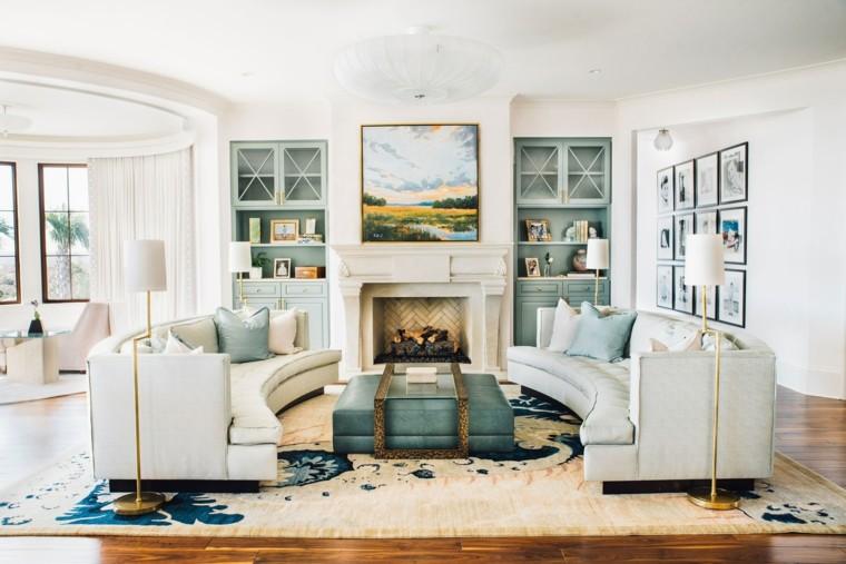 salones vintage sofas curvadas blancas ideas