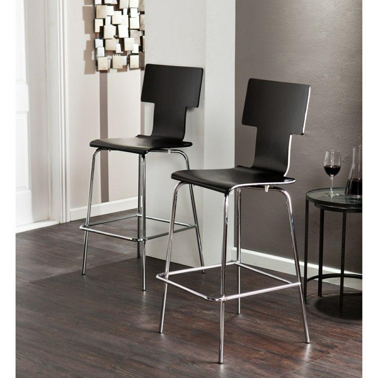 sillas cocina altas color negro