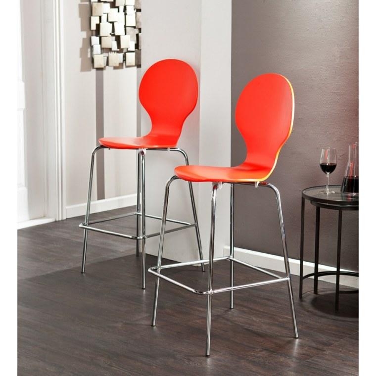sillas altas respaldo color naranja