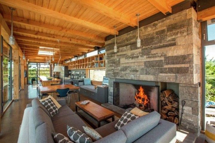 techo madera concepto paredes cojines