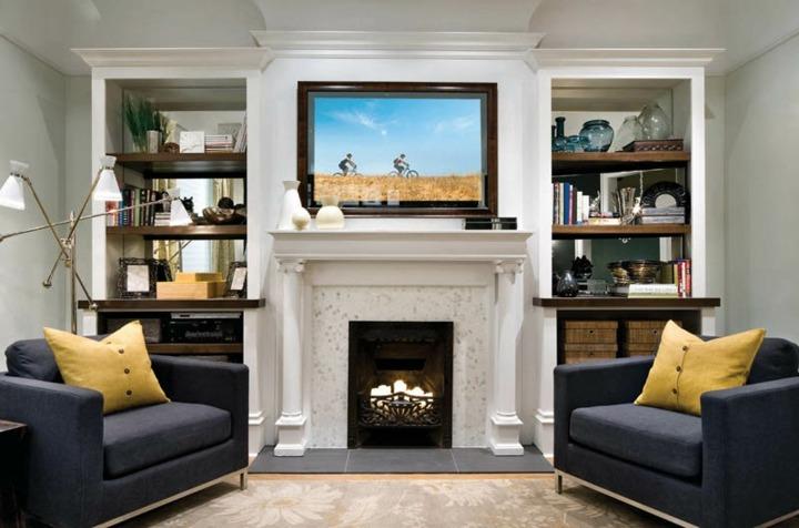 Decorar paredes diseño de acento y muebles junto a la chimenea