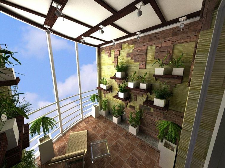 terrazas con plantas paredes