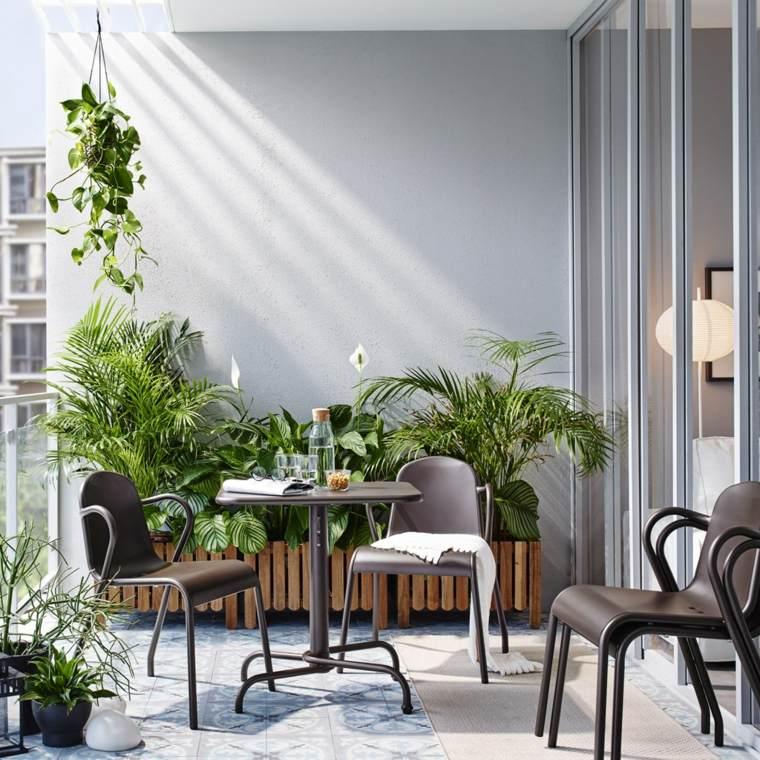 terrazas decoradas con plantas mesa