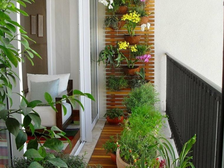 terrazas decoradas con plantas pared