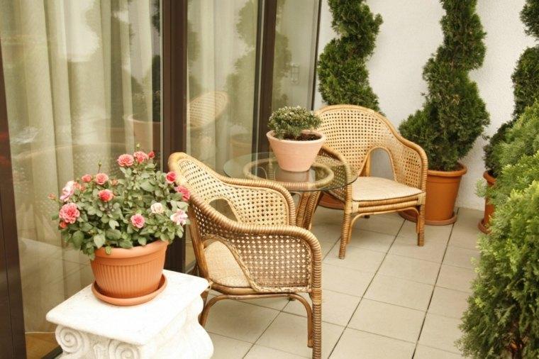 terrazas decoradas con plantas sillas