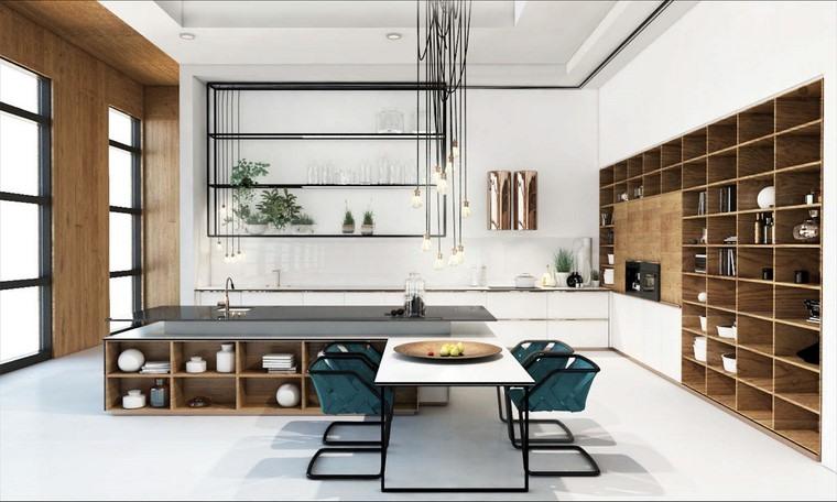 textura madera diseno cocina estanteria grande ideas