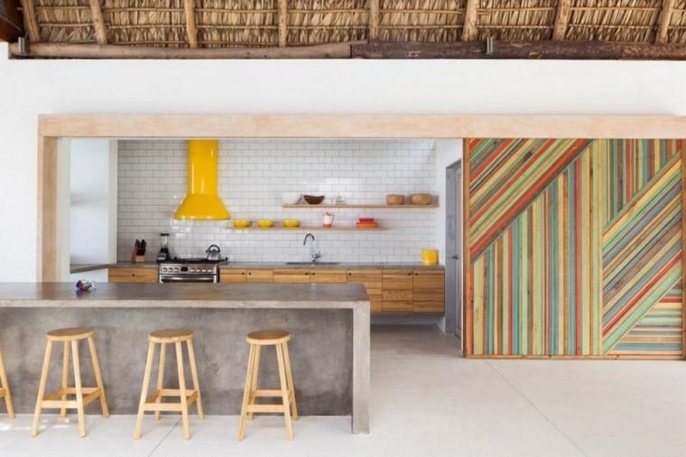 textura madera diseno cocina paneles colores ideas