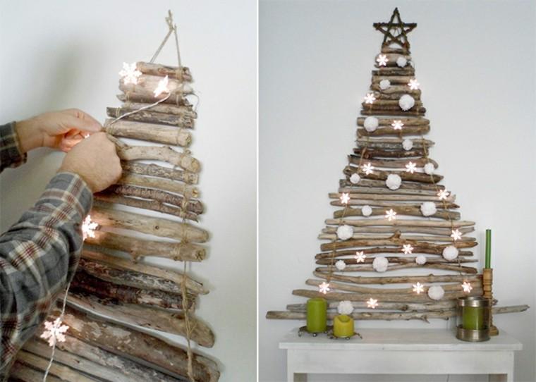árboles de Navidad caseros - 42 ideas con madera rústica -