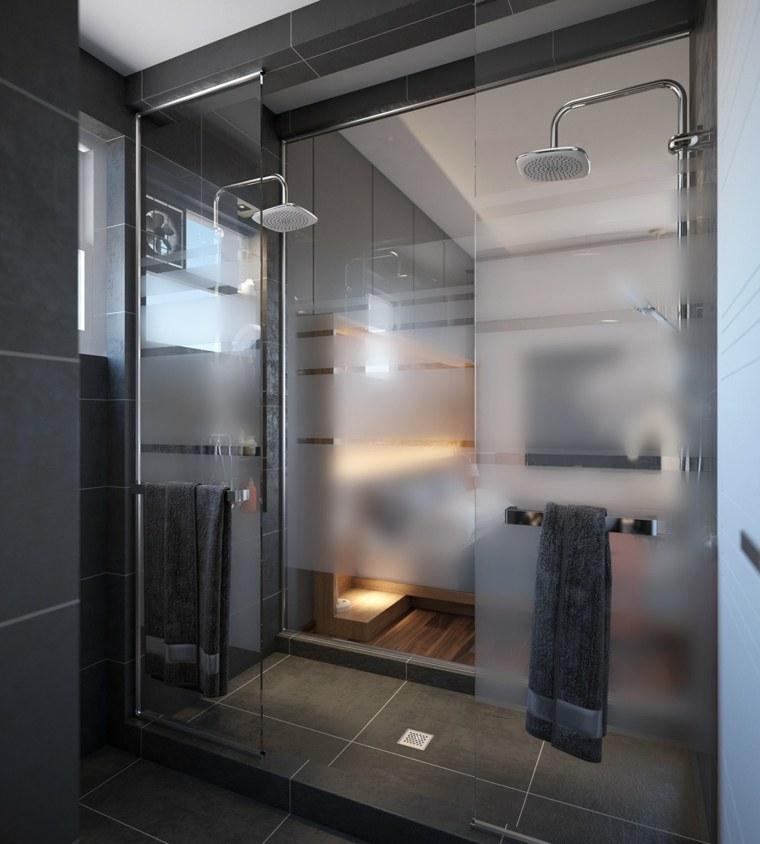 baño moderno azulejos negros