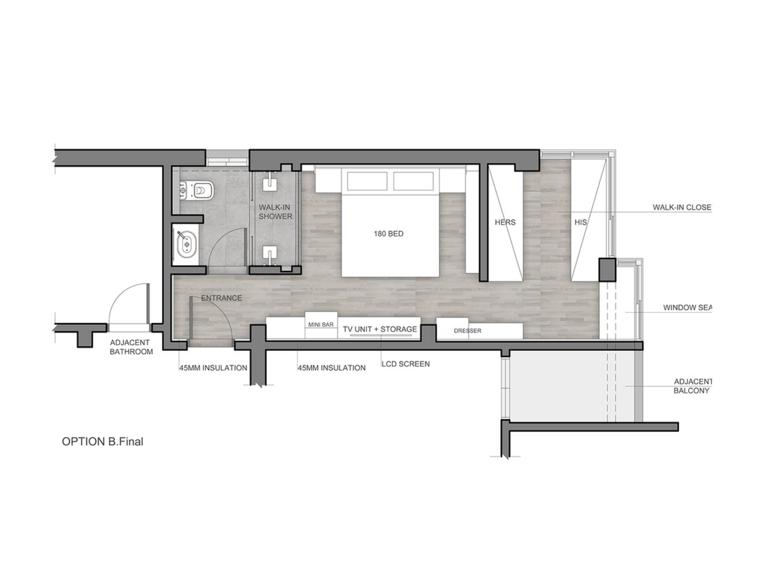 diseño plano habitación moderna